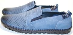 Модные туфли летние мужские, синие Luciano Bellini