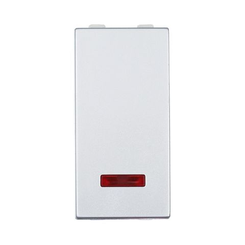 Выключатель с индикатором 45х22,5 мм 16 A, 250 В~ 1 модуль (схема 1L). Цвет Серебристый металлик. LK Studio LK45 (ЛК Студио ЛК45). 850303
