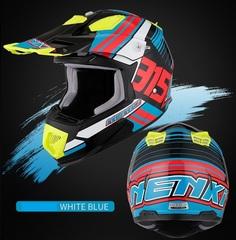 Кроссовый мотошлем NENKI NK315 Hot Pistons, красный-синий-чёрный