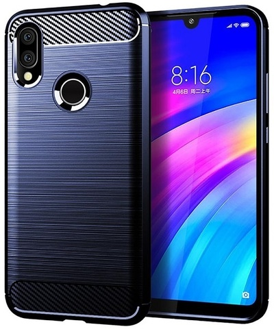 Чехол Xiaomi Redmi 7 (Redmi Y3) цвет Blue (синий), серия Carbon, Caseport