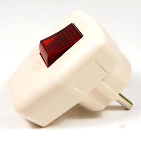 Вилка угловая с/з с выключателем белая 16А 250В TDM
