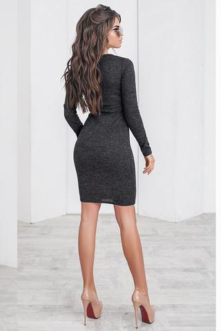 Трикотажное платье мини, цвета графита 3