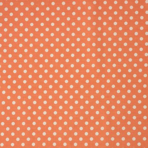 Ткань хлопковая белый горошек на оранжевом, отрез 50*80 см