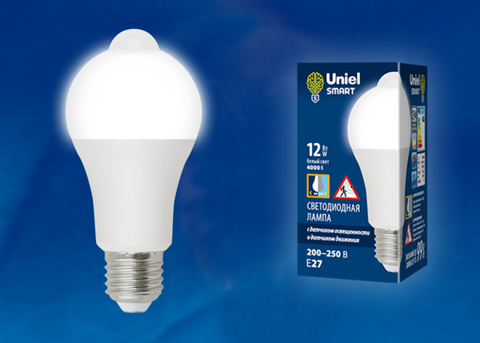 LED-A60-12W/4000K/E27/PS+MS PLS10WH Лампа светодиодная с датчиком освещенности и датчиком движения.  Форма