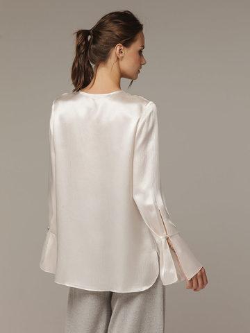 Женская белая блузка из 100% шелка - фото 3