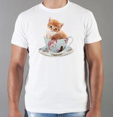 Футболка с принтом Кот, Кошка, Котенок (кошки) белая 0090