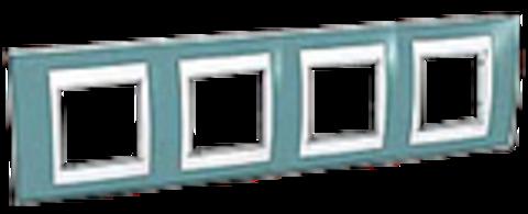 Рамка на 4 поста. Цвет Синий/Бежевый. Schneider electric Unica Хамелеон. MGU6.008.573