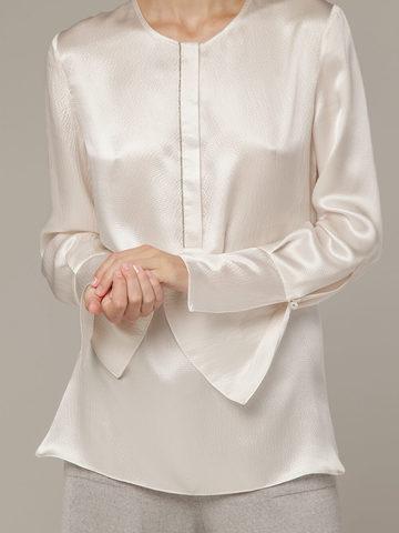 Женская белая блузка из 100% шелка - фото 2