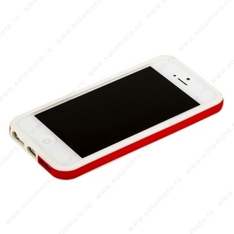 Бампер для iPhone SE/ 5s/ 5C/ 5 белый с красной полосой