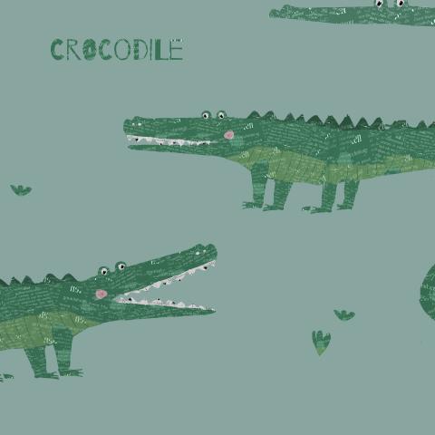 крокодил на голубом/ crocodile blue
