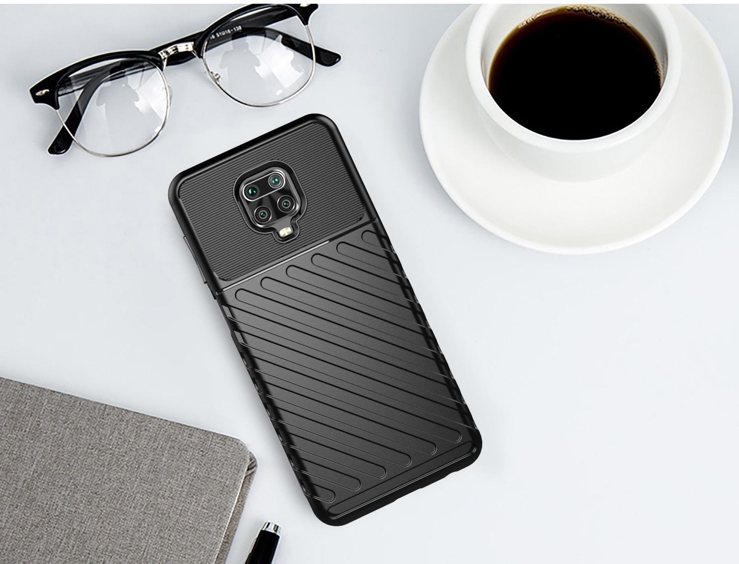 Чехол черного цвета c объемным рисунком на Xiaomi Redmi Note 9s и 9 Pro, серии Onyx от Caseport