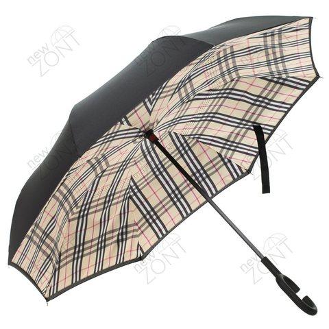 Зонт наоборот барберри в клетку механический