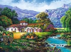 Картина раскраска по номерам 40x50 Домик у реки с видом на горы