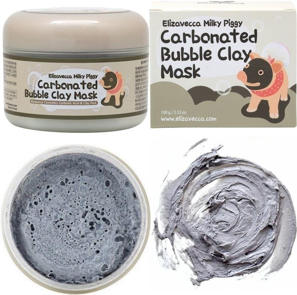 Elizavecca Carbonated Bubble Clay Mask глубоко очищает и сужает поры