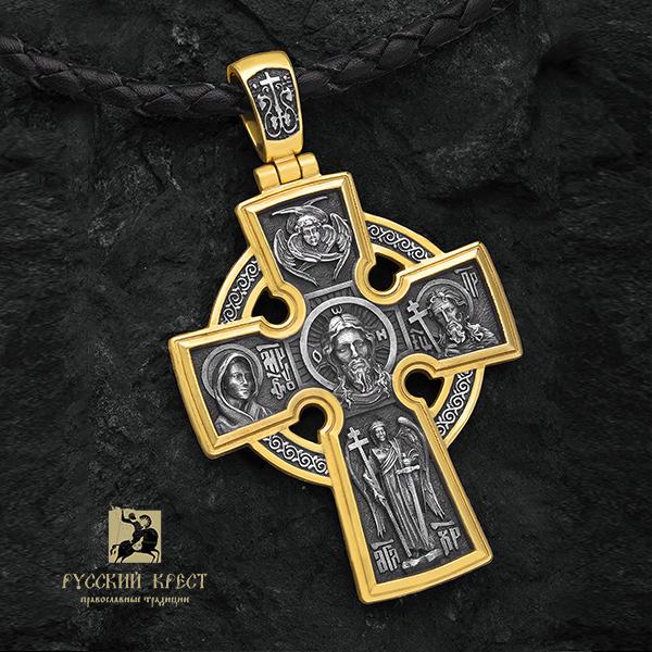 Мужской крест с позолотой Николай Чудотворец
