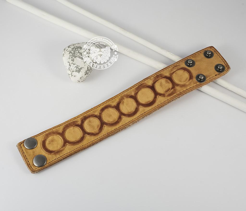 Кожаный браслет песочного цвета «Властелин Колец» на кнопках (17,5 -20 см)