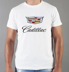 Футболка с принтом Кадиллак (Cadillac) белая 002