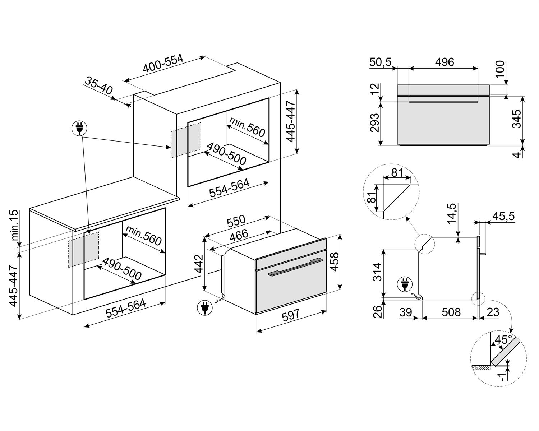Компактный духовой шкаф Smeg SF4101MCNO