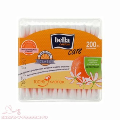 Bella cotton. Ватные палочки Care с Д-пантенолом и экстрактом цветка апельсина, 200 шт