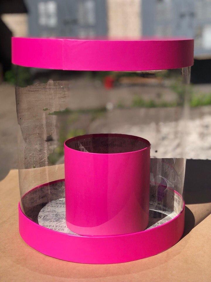 Коробка аквариум 32см Цвет : Фуксия . Розница 550 рублей .