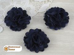 Цветы атласные с фатином чернильные диаметр 5 см