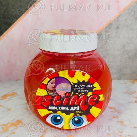 Большой слайм Мни, Тяни, Дуй Slime Mega Mix  прозрачный и красный, 500 г