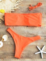 Купальник раздельный бандо оранжевый