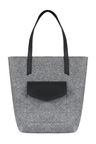 Войлочная сумка Gmakin Vella серая с черным кожзамом
