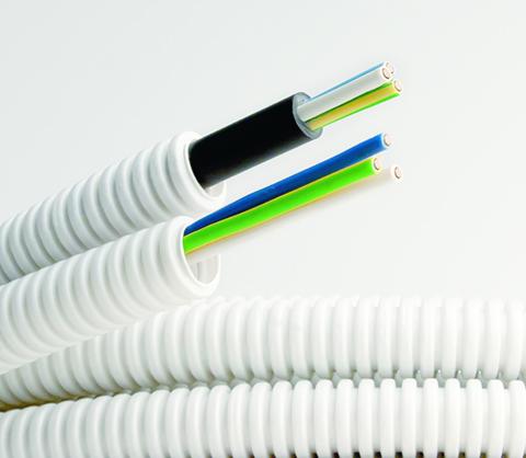 Прокладка кабеля до 25 мм2  в гофротрубе