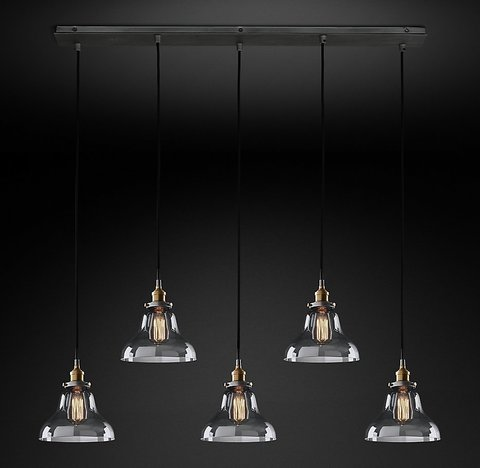 Подвесной светильник копия 20th C. Factory Filament Clear Glass Boulangerie Rectangular Pendant by Restoration Hardware