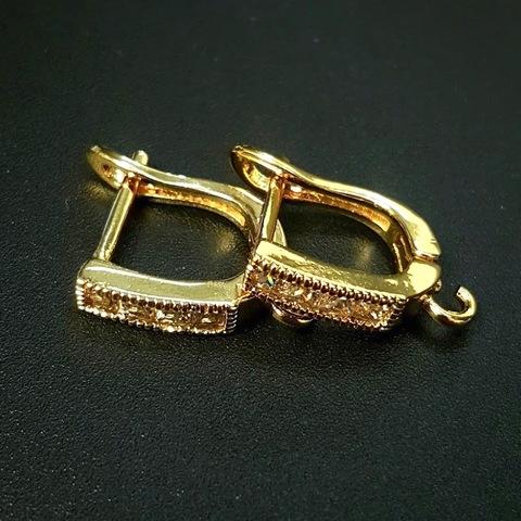Швензы с цирконами цвет золото (1пара)
