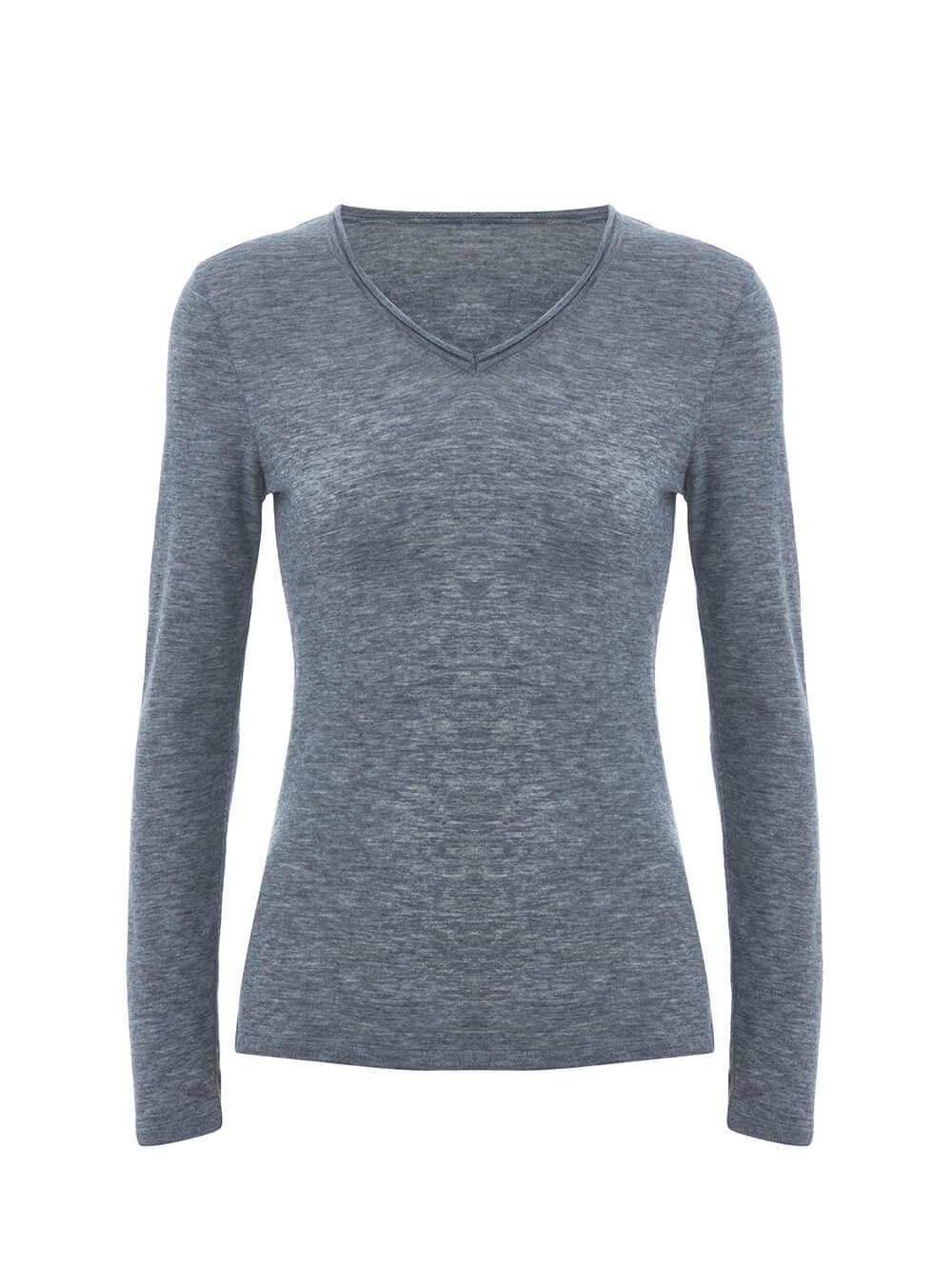 Женский джемпер светло-серого цвета из 100% шерсти - фото 1