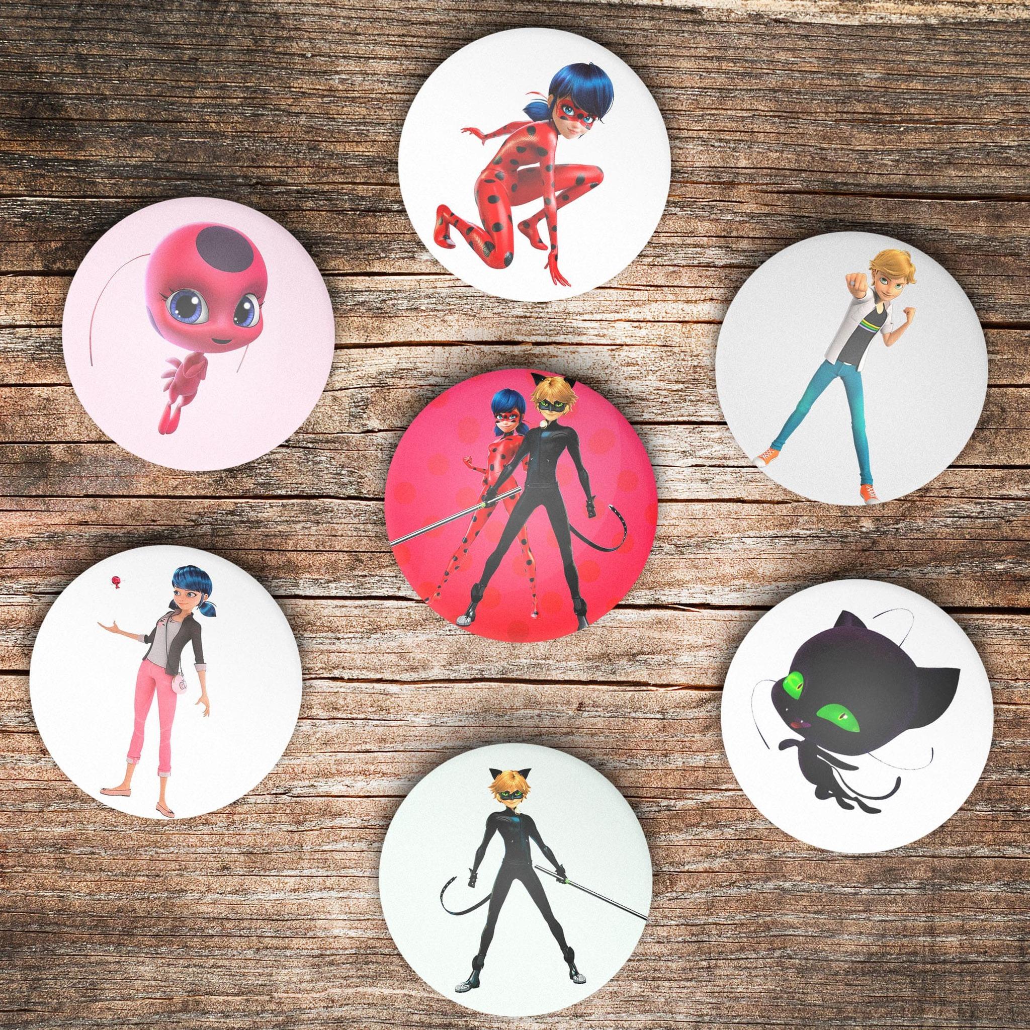 Комплект из 7 значков Леди Баг и Супер Кот - купить в интернет-магазине kinoshop24.ru