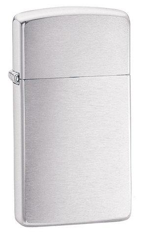 Зажигалка Zippo Slim Brushed Chrome, латунь/сталь, серебристая, матовая, 30х10x55 мм123