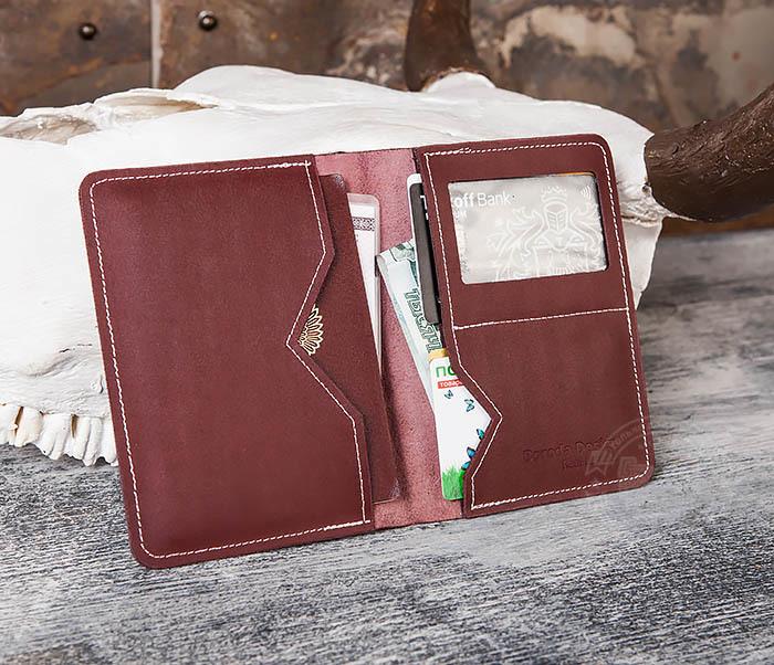 Boroda Design, Кожаная обложка с окошком для паспорта и документов ручной работы