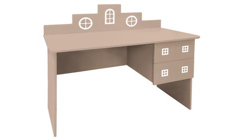 детский письменный стол в виде домика кремовый