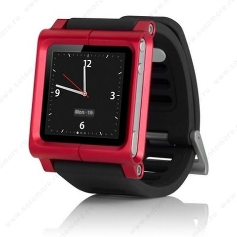 Сменный ремешок LunaTik для Apple iPod nano 6 в виде браслета черный ремешок красный корпус