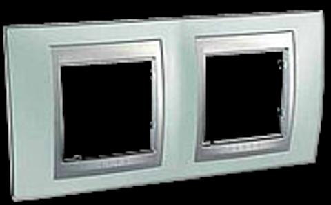 Рамка на 2 поста. Цвет Флюорит-алюминий. Schneider electric Unica Top. MGU66.004.094