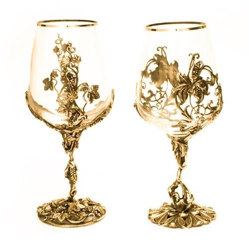 Набор позолоченных бокалов для вина «Виноградная лоза»