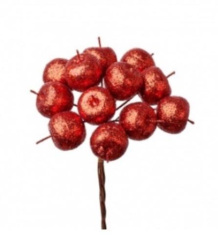 Набор яблок с глиттером на вставках 12шт., размер: D2,2xL10,5см, цвет: красный