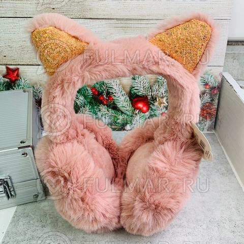 Наушники утеплённые складные для девочки с ушками Кошечки в блёстках цвет: розовый