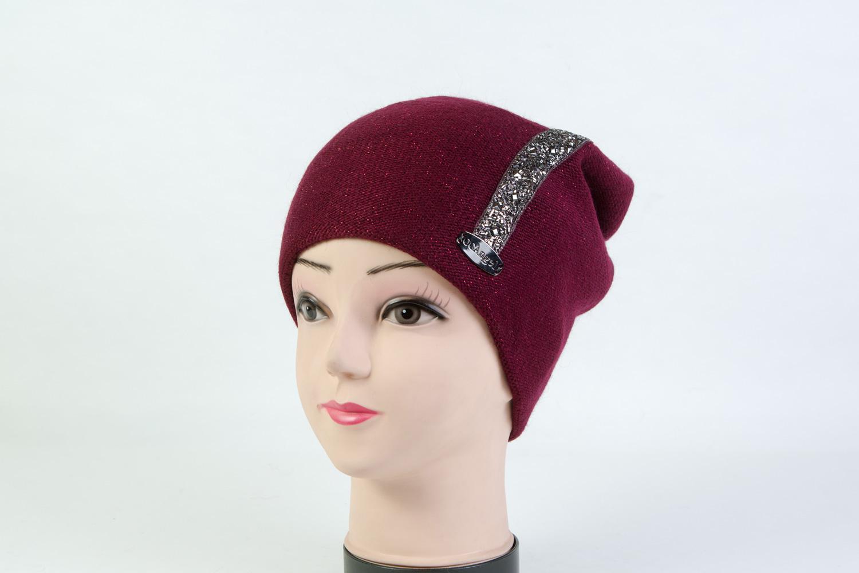 Женская шапка бордовая SH 7G-90005 Bordo