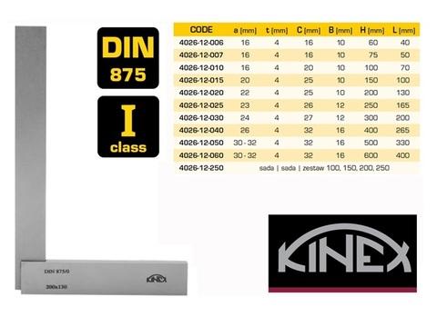 Угольник поверочный 60х40мм кл.1 (УШ- с шир. осн.) DIN875 Kinex 4026-12-006