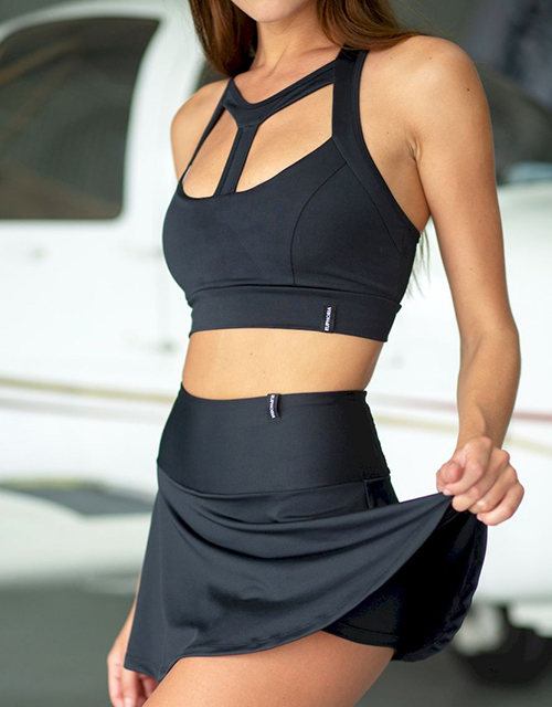Юбка-шорты Lucky Star Black для пол данс, тениса, спортивных танцев