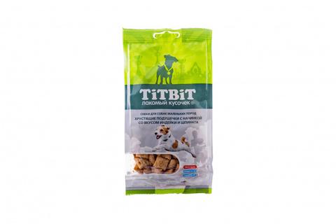 Titbit хрустящие подушечки с начинкой со вкусом индейки и шпината для мелких пород 95г