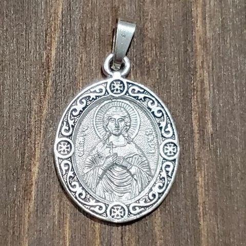 Нательная именная икона святая Вера с серебрением кулон медальон с молитвой