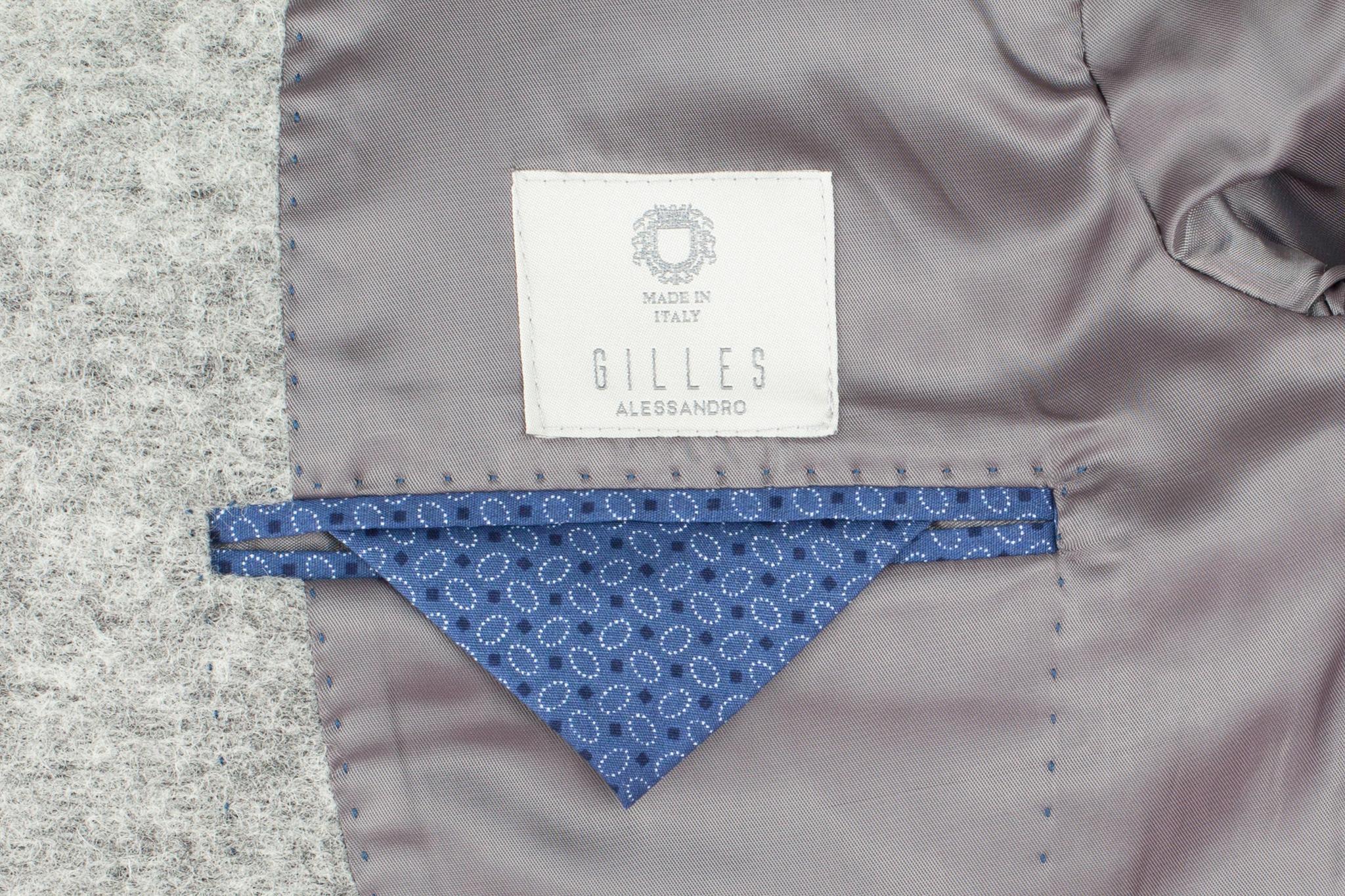 Светло-серый шерстяной пиджак, внутренний карман
