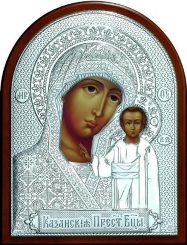 Серебряная икона Божией Матери Казанская 11х9см