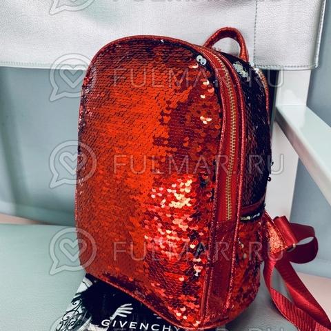 Рюкзак с пайетками меняющий цвет Красный - Серебристый  Mila