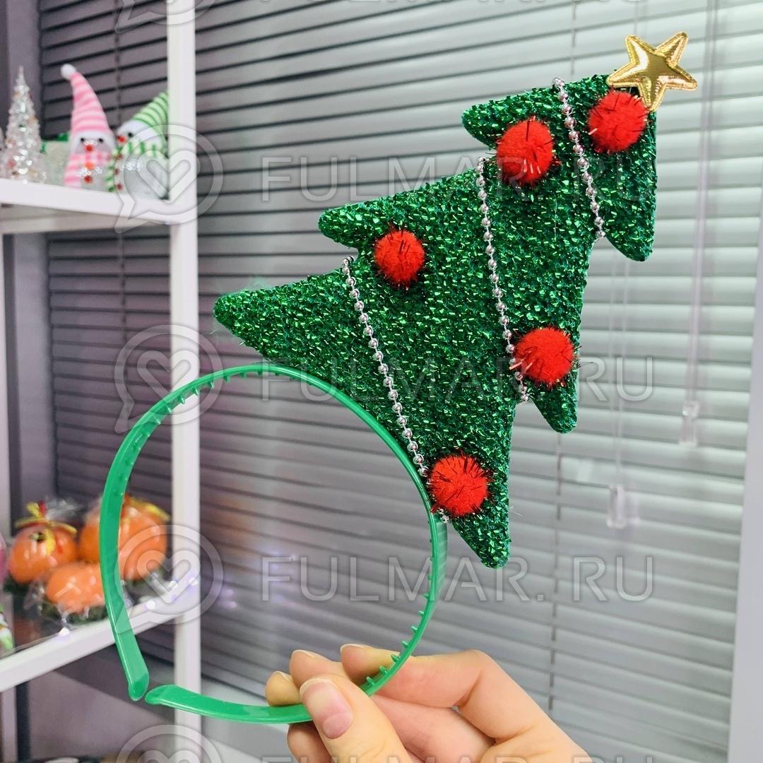 Карнавальный ободок на голову новогодний Ёлочка с красным фото